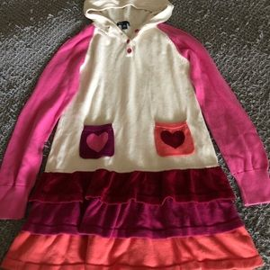 Gap kids valentine hoodie sweater dress sz 14-16